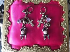 Betsey Johnson Vintage Classic Charms Crystal Cross Chair Rose Pearl Earrings