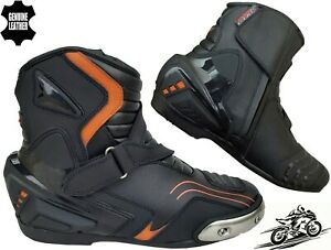 MENS ORANGE & BLACK MOTORBIKE MOTORCYCLE RACING BOOTS SPORTS REAL LEATHER SHOES