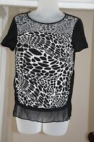 Diane Von Furstenberg Black White Silk Small Blouse Top XS 6 8 animal print S !!
