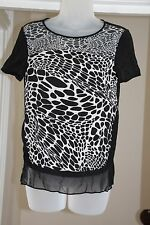 Diane Von Furstenberg Black White Silk Small Blouse Top XS 6 8 animal print S