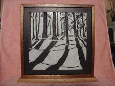 Handmade Art Sandblast Woods scene Lighted Display Gift  Marble curio