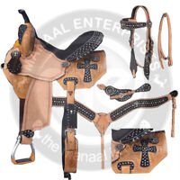Premium Leather  Western Horse Saddle Equestrian Tack Set Size 14 to 18
