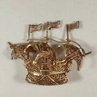 Ship Brooch Maltese Cross Filigree Gold Tone Sailing Vintage Boat Pin