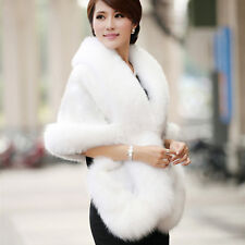 Luxury Womens Ladies Faux Mink Cashmere Party Wedding Winter Long Fur Coat Shawl White