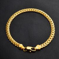 18k Goldkette Armkette 4MM Armband 21cm Männer Herren Damen Schmuck vergoldet