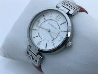 Liz Claiborne Women Watch Red Leather Band With Silver Tone Case Analog Watch