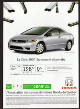2007 HONDA Civic LX Coupe Original Print AD - Silver car photo french canada