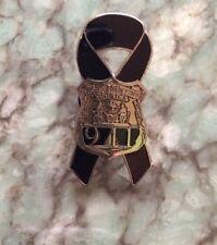 911 9-11 WTC Memorial Black Ribbon NYPD Badge Lapel Pin collectors Item. NOS