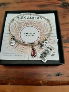 Alex and Ani Women's June Light Amethyst Teardrop Brushed Silver  Charm Bangle