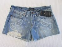 Lucky Brand Size 27 Mid Blue Wash Distressed Denim Paisley Print Cut Off Shorts