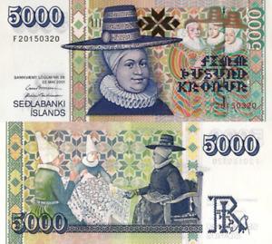 ICELAND, 5000 KRONUR, 2001, P60, (Ragnheiður Jónsdóttir) UNC