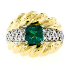 Vintage 18K Two Tone Gold 2.29ctw GIA Colombian Emerald & Diamond Cocktail Ring
