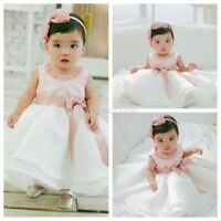 Infant Baby Flower Girl Formal Tutu Dress Christening Baptism Wedding Party Gown