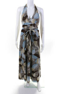 BCBGMAXAZRIA Womens Cotton Halter Maxi Dress Brown Blue Size Extra Small