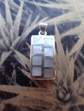Vintage Sterling Silver Pendant With Mother Of Pearl Inlay #2
