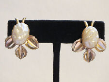 Retro Faux Baroque Pearl Lucite & Gold Leaf Screw-Back Earrings