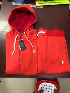 NWT Ralph Lauren Mens Athletic Classic Fleece Hoodie Sweatpant Track Suit Size L