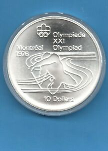 1976 CANADA $10 MONTREAL OLYMPICS CANOEING GEM BU SILVER COIN IN AIRTIGHT
