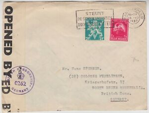 BELGIUM 1947 censor cover *ANTWERPEN-BRITISH ZONE GERMANY* with label on back
