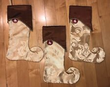 Lot of 3 Enchanted Forest 2007 Christmas Stockings by Menards Gold Elf Style Nwt