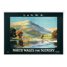Vintage travel railway poster - A4 - North Wales for Scenery L&NER