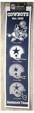 """Dallas Cowboys NFL Casco Evolución de 8"""" X 32"""" Lana Patrimonio Banner De Pared Colgante"""