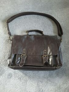 Faux Brown Leather Satchel