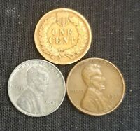 Old US Coin Estate Lot Indian Head, Lincoln Wheat, & Steel Penny Cent 3 Coin Set