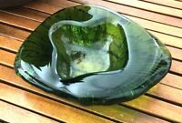 BLENKO Freeform Textured Ashtray Trinket Dish Bowl Green Amoeba Blob