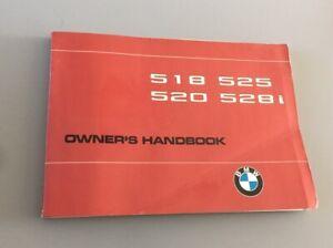 BMW 5 SERIES E12 OWNERS INSTRUCTION MANUAL HANDBOOK 518 525 520 528i 1972-1981