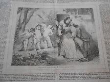 Gravure 1860 - Une erreur de l'Amour d'après Voillemot