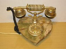 Vtg Onyx Stone Rotary Dial Heart Shaped Phone Retro Table Telephone Made Italy