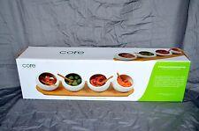 Core Bamboo 4 Part Round Bamboo Ceramic Entertainment Set Sauces Condiments