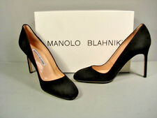 MANOLO BLAHNIK BLACK SUEDE BB CLASSIC PUMPS HIGH HEELS ROUND TOE 37/7 NEW SALE