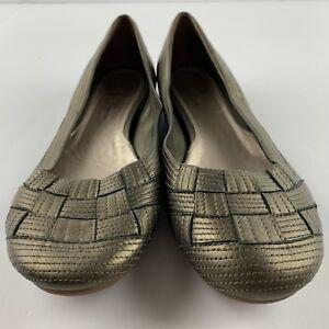 Cole Haan Air Women 8.5 B Pewter Metallic Leather Weave Front Flat Shoe