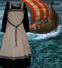 SCA Garb Norse Viking Medieval Costume Tan LinenBld BlkCtn Apron Kirtle 2pc L XL