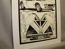 1969 De Tomaso Mangusta Auto Pen Ink Hand Drawn  Poster Automotive Museum