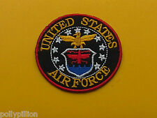 MILITARY BIKER SEW ON / IRON ON PATCH:- UNITED STATES AIR FORCE (a) RED DISC