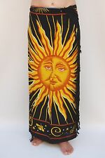 NEW UNISEX MENS WOMENS BLACK YELLOW SUN SARONG BEACH POOL THROW PAREO BNIP/sa381