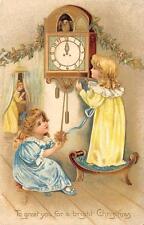 CHRISTMAS HOLIDAY CHILDREN BIRD CLOCK EMBOSSED POSTCARD 1908