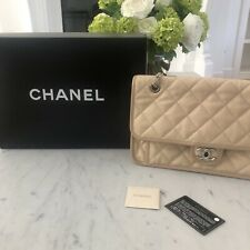 Authentic Chanel Beige Quilted Leather Classic Medium Double Flap Bag