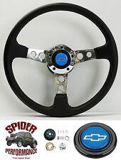 "1975-1986 Chevy C10 C20 C30 K10 K20 K30 steering wheel BLUE BOWTIE 14"" LEATHER"