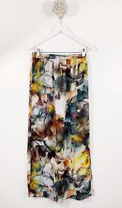 River Island Ladies Maxi Skirt Floral Slit Side Size 12 Elastic Waist