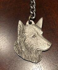 Rare Vintage Belgian Sheepdog  Dog Rawcliffe Pewter Keychain Key Chain Leash