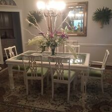 White Dining Room Table glass top 8 chairs and lighted China Closet $2,500.