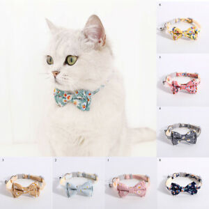 Cat Daisy Flower Print Bow Collar Pet Collar Bow Tie Bell Necklace Adjustable