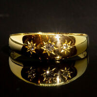 Antique 1902 Edwardian Old Cut Diamond Star Gypsy 18ct Gold Trilogy Ring