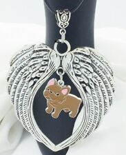 French Bulldog Brown Puppy Dog Lovers Angel Wings Memory Leather Necklace