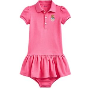 Genuine Ralph Lauren baby girls Polo bear logo pink cotton dress 6mth WITH TAGS
