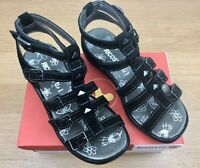 Girls Ricosta Linara Black Velour Leather Faux Buckle Sandals Size 12 (31)